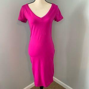 LEITH V-neck Stretchy Pink Dress